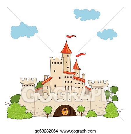 Fairytale clipart pretty castle. Vector illustration