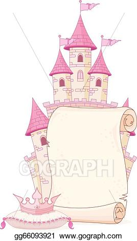 Fairytale clipart pretty castle. Eps vector fairy tale