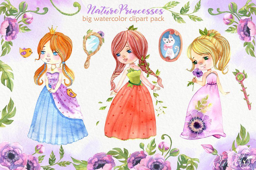 Watercolor princess cute fairy. Queen clipart fairytale