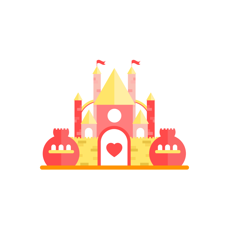 Fairytale clipart red castle. Fairy tale icon vector