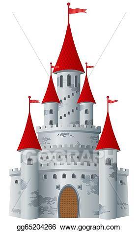 Fairytale clipart red castle. Vector art fairy tale