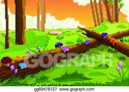 Eps illustration scenic beauty. Fairytale clipart scenery