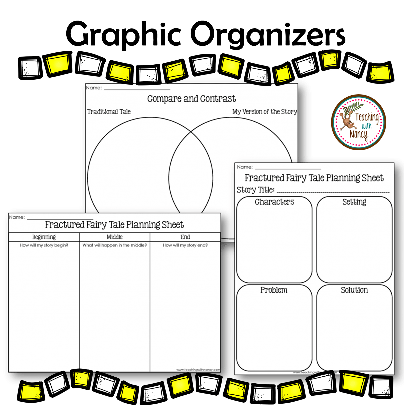 Fairytale clipart story problem. Graphic organizers teaching with