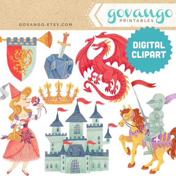 Medieval times digital instant. Fairytale clipart storybook castle