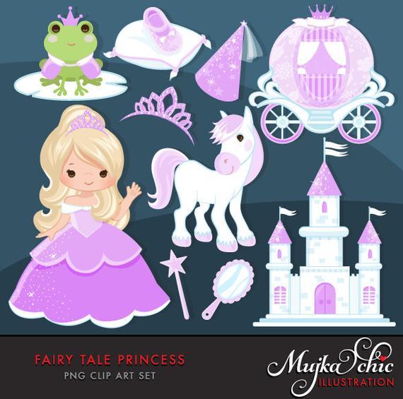 Fairy princess purple characters. Fairytale clipart tall tale