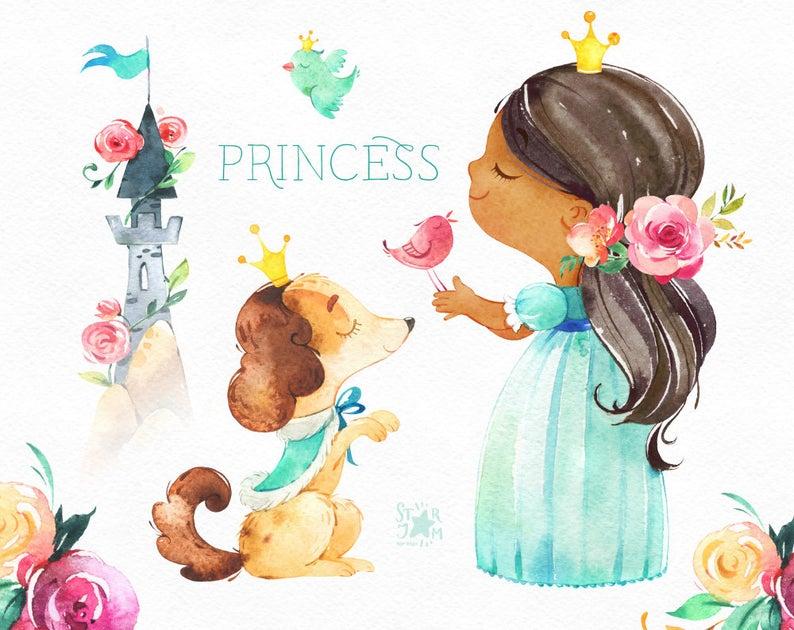 Princess watercolor royal girl. Fairytale clipart tower