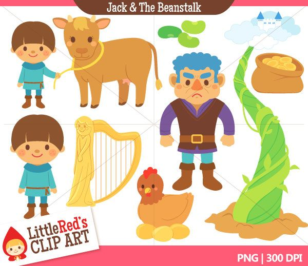 Jack and the beanstalk. Fairytale clipart traditional tale