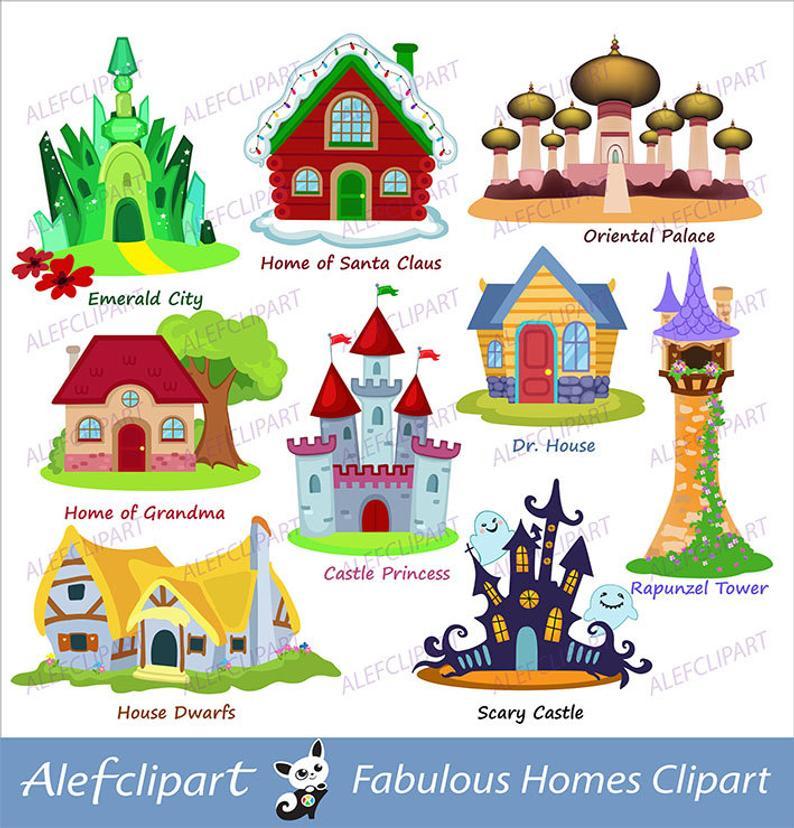 Fairy house homes castle. Fairytale clipart tree