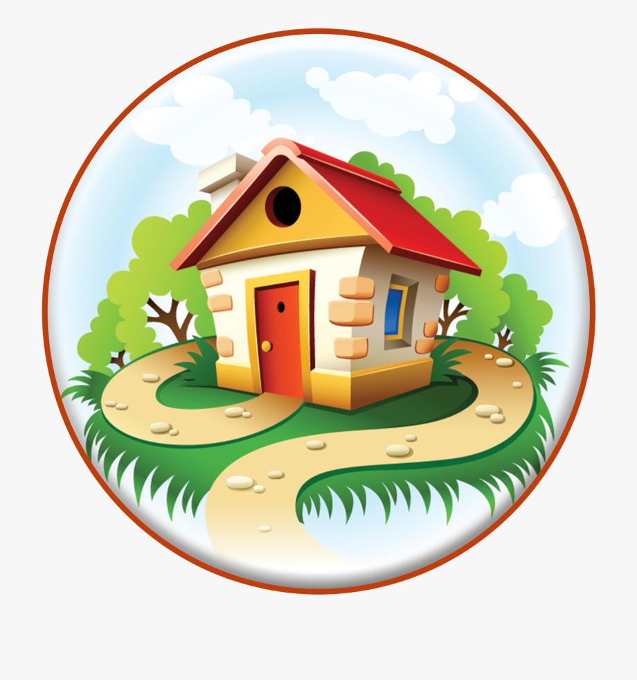 Princess and houses . Fairytale clipart tree