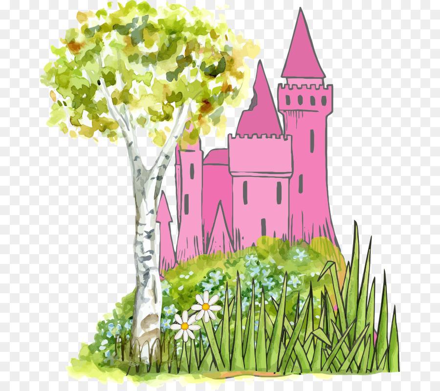 Fairytale clipart tree. Green grass background illustration