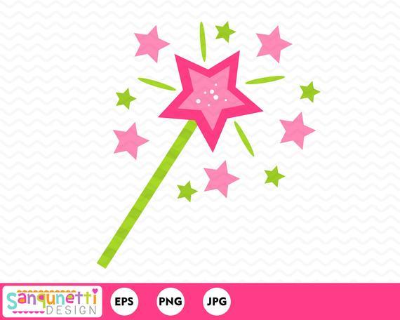Fairytale clipart wand. Princess fairy tale digital
