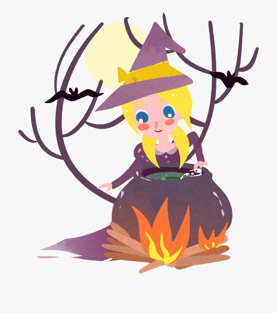 Fairy tale character girl. Fairytale clipart witch
