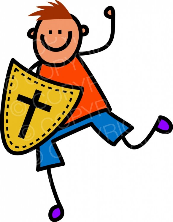 Shield of stick kid. Faith clipart cartoon