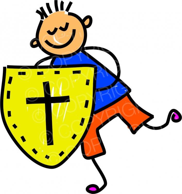 Happy shield of kid. Faith clipart cartoon