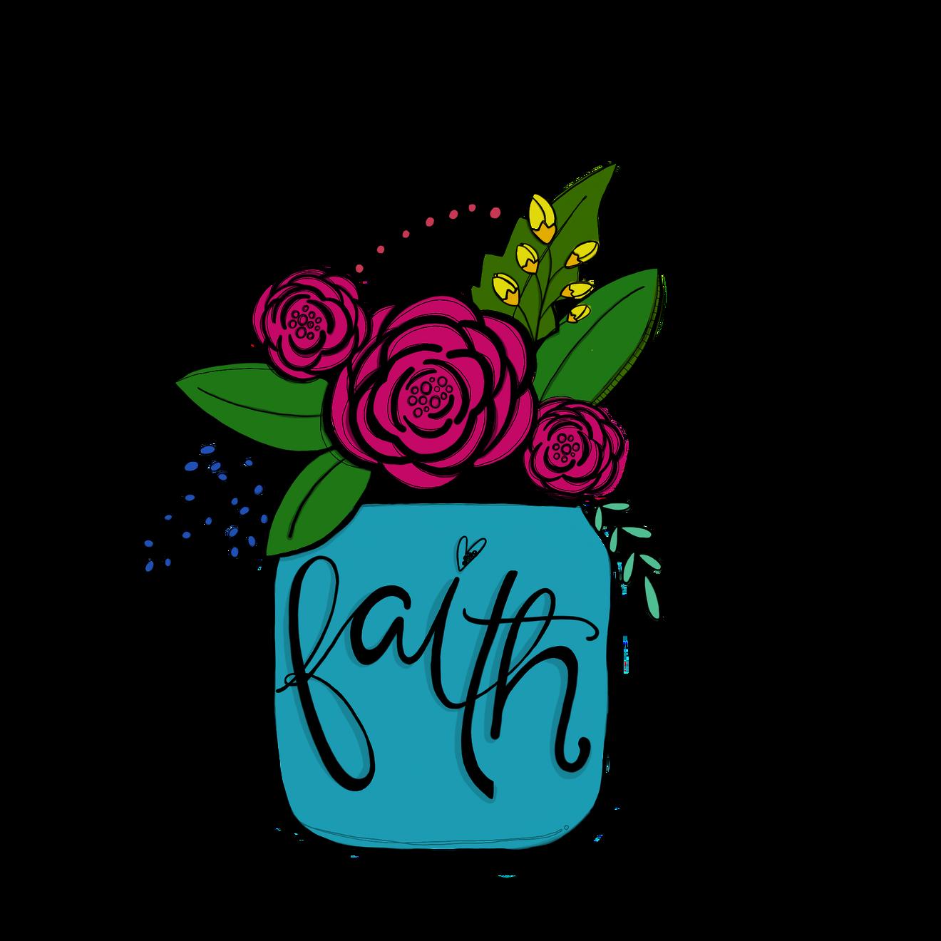 Doodle flower jar bible. Faith clipart love drawing