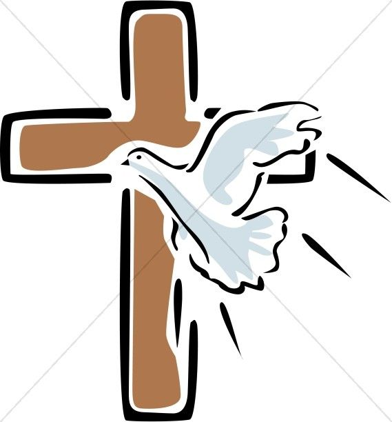 Outlined cross with flying. Faith clipart prayer service