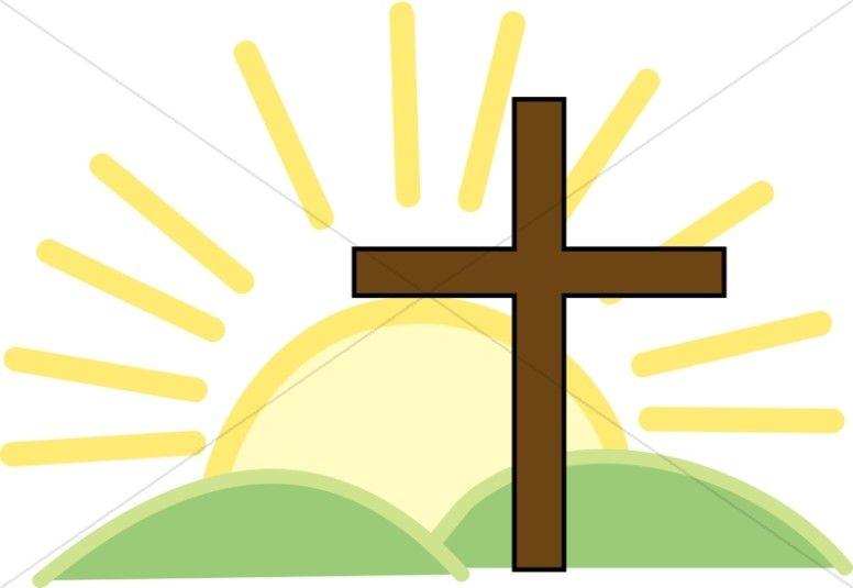 Faith clipart prayer service. Cross and bright sun