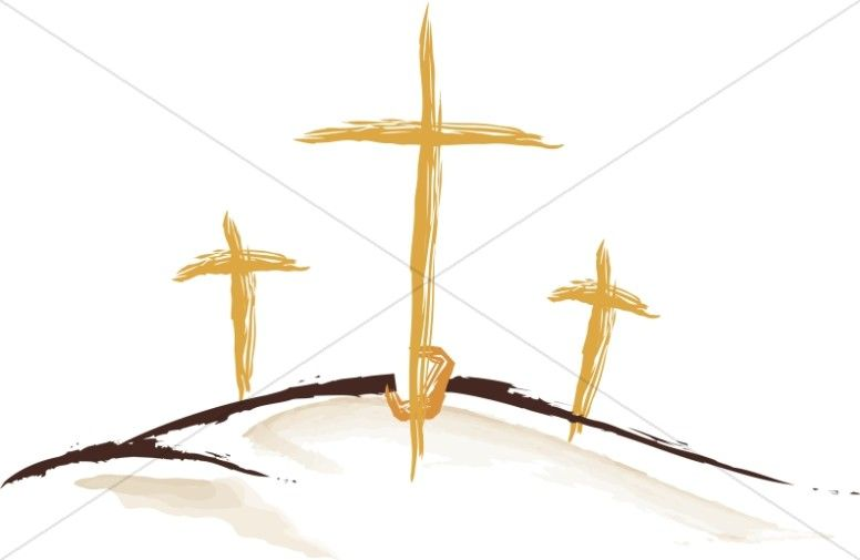 Faith clipart three cross. Gold sketched crosses easter