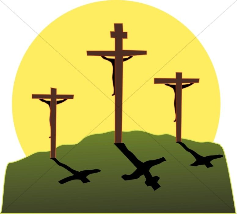 Crucifixion in colors easter. Faith clipart three cross