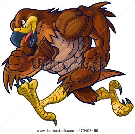 Vector cartoon illustration side. Falcon clipart chicken hawk