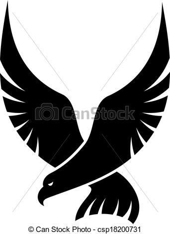 Falcon clipart illustration. Vector swooping bird stock