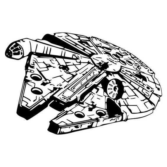 Silhouette star wars stencil. Starwars clipart millennium falcon
