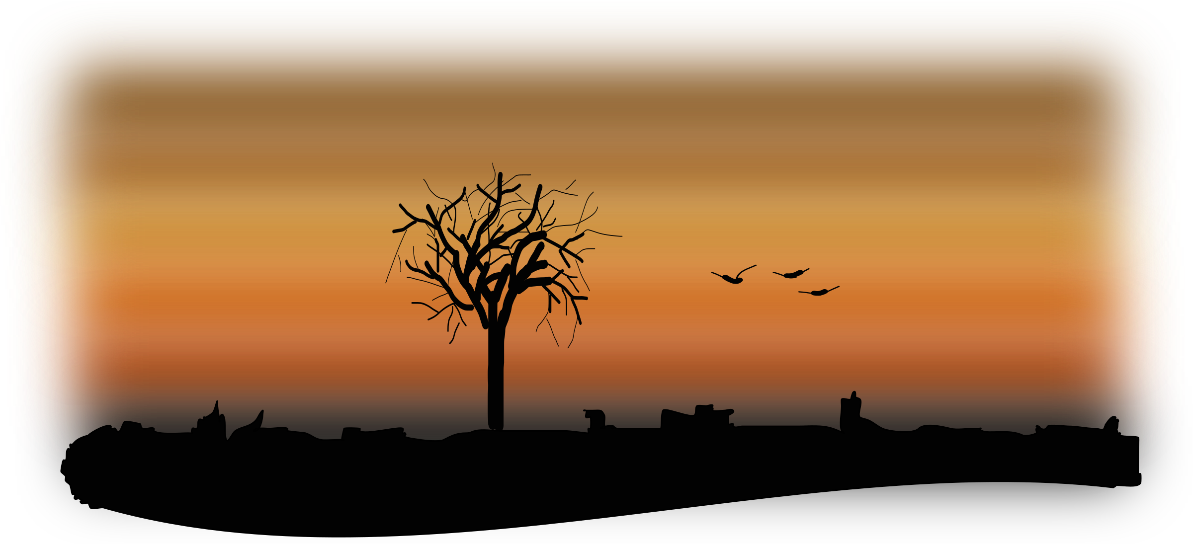 Sunset clipart sunset landscape. Fall silhouette big image