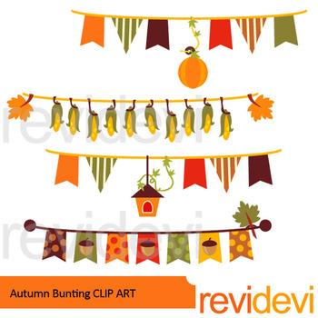 Fall clipart autumn theme. Bunting banners clip art