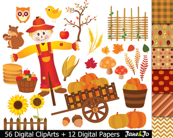 Scarecrow clipart autumn.  fall harvest clip