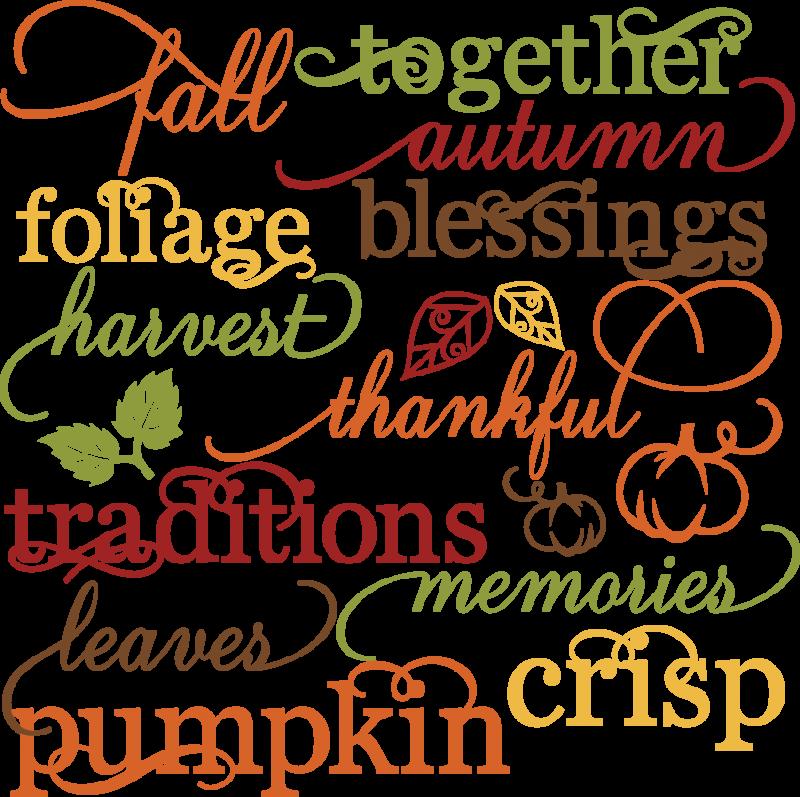 Scrapbook clipart autumn. Fall words set svg