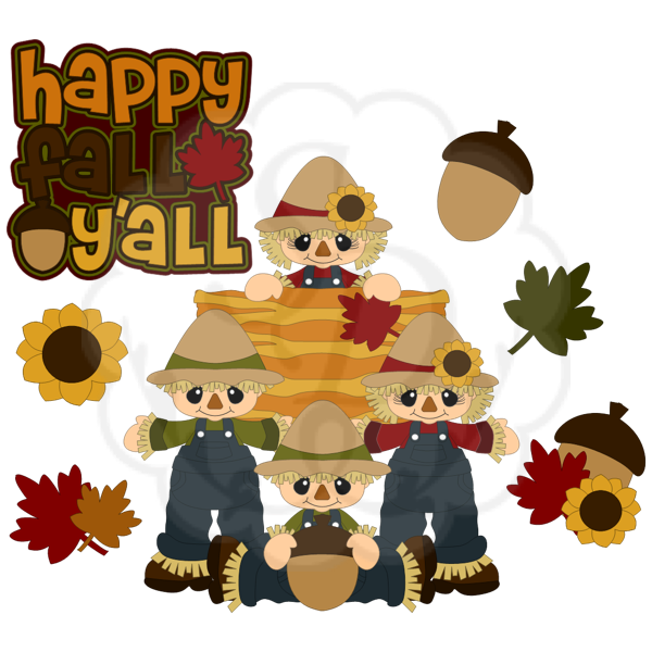 Fall clipart happy fall. Scarecrows acorn leaves haystack