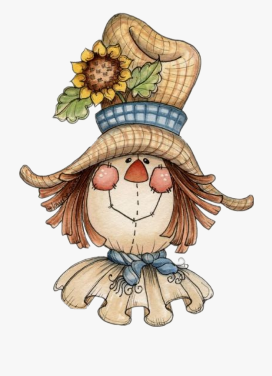 Transparent cute fall . Scarecrow clipart autumn