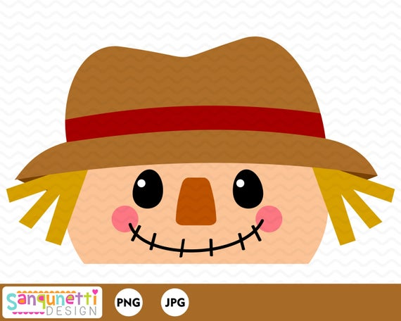 Scarecrow clipart scarecrow hat. Face fall topper graphic