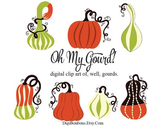 Fall clipart squash. Gourds and instant download
