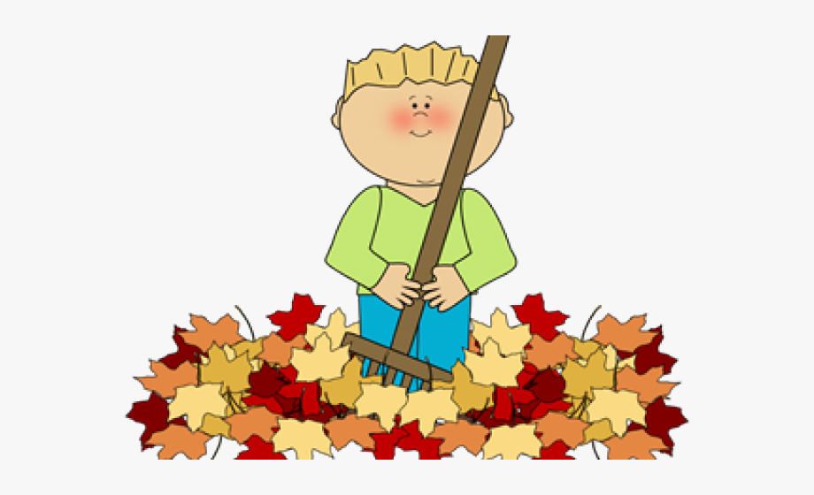 Raking leaves clip art. Fall clipart sweeping leave