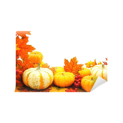 Fall leaves and pumpkins border png. Or frame of vibrant