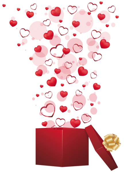 Falling hearts png. Red gift with clipart