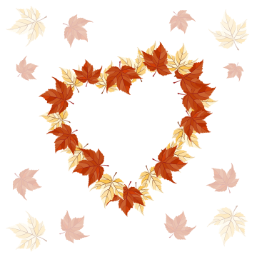 Fall colors vectors psd. Falling hearts png
