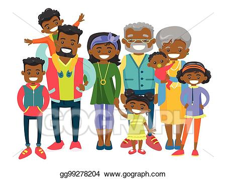 Families clipart african american. Vector happy extended family