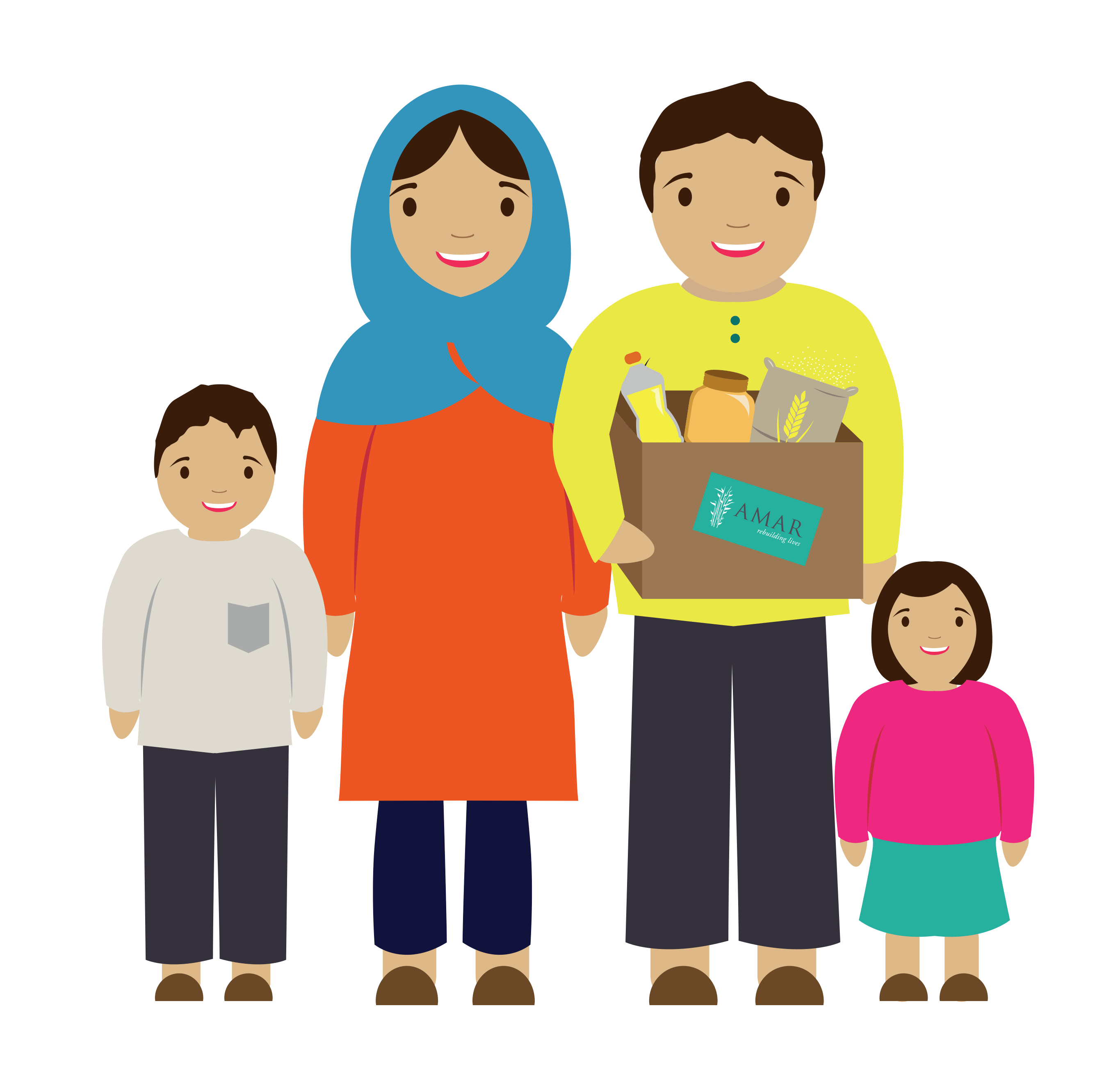 Amar foundation ramadan meal. Families clipart animated
