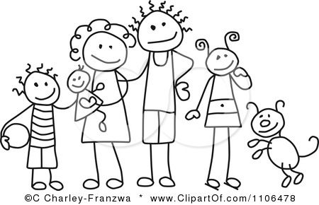 Families clipart black and white. Stick drawing of a