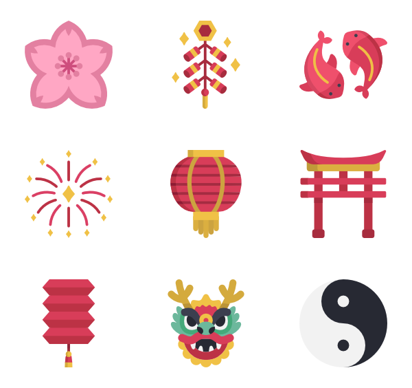 Icons free vector. Family clipart chinese new year