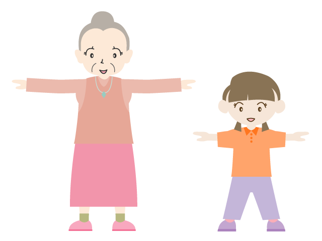 Families clipart exercise. Radio grandpa and child
