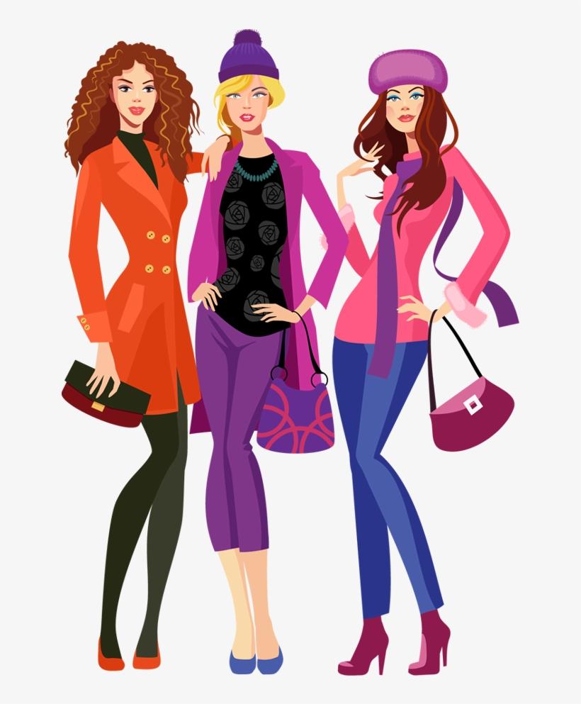 Shopping model cartoon png. Fashion clipart family