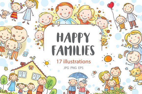 Bundle by bubert art. Families clipart happy family