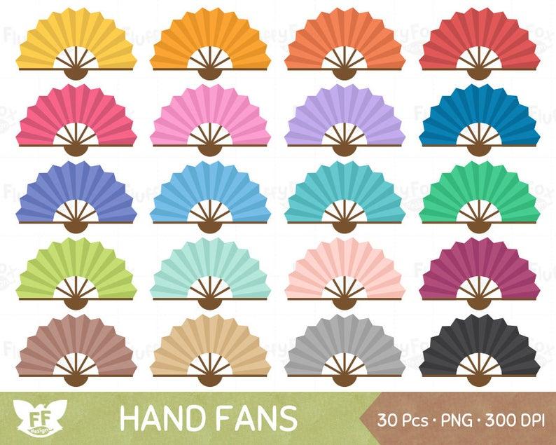 Fan clipart cute. Hand folding fans clip