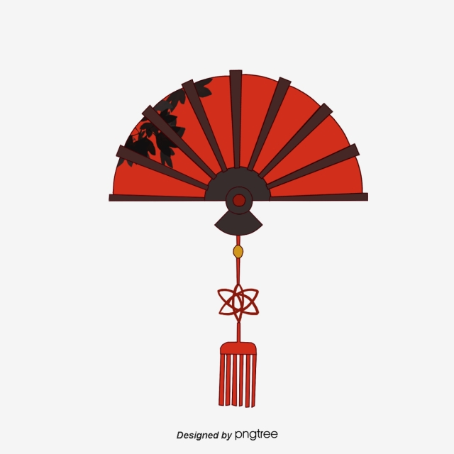 Fan clipart decoration chinese. Fans knot decorative elements