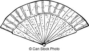 Fan clipart fanblack. Hand black and white