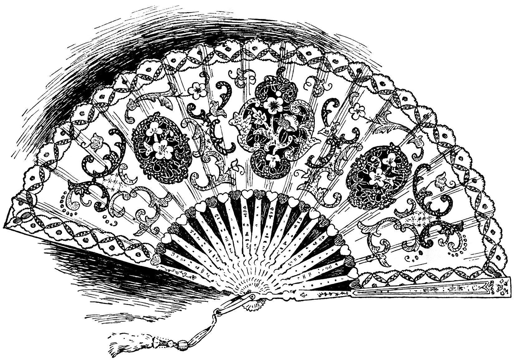 Lace clipart fan. Vintage ladies hand held
