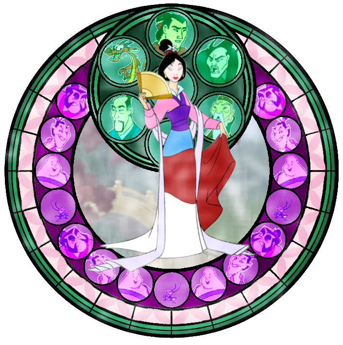 Stained glass disney princess. Fan clipart mulan